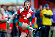 Keighley Cougars stand off Benn Hardcastle (23) scores a conversion during the Betfred League 1 match between Keighley Cougars and Workington Town at Cougar Park, Keighley, United Kingdom on 18 February 2018. Picture by Simon Davies.