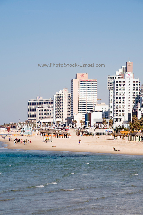 Israel, Tel Aviv, A sunny winter day on the beach February 2008 looking north