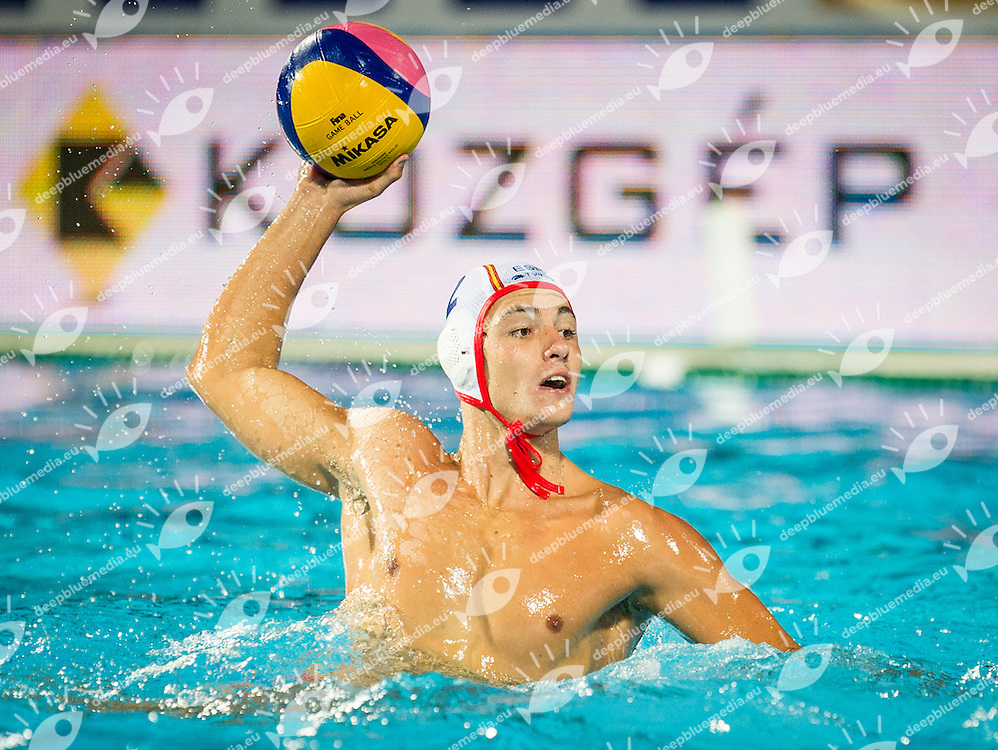 2 MUARRIZ A. SPA<br /> Spain (White) Vs Hungary (Blue)<br /> LEN European Water Polo Championships 2014<br /> Alfred Hajos -Tamas Szechy Swimming Complex<br /> Margitsziget - Margaret Island<br /> Day01 - July 14 <br /> Photo Giorgio Scala/Inside/Deepbluemedia