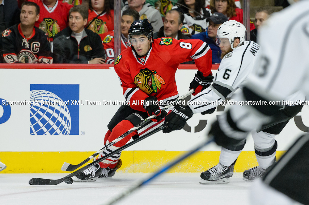 CHICAGO, IL - OCTOBER 30: Chicago Blackhawks Center Nick Schmaltz (8) skates with the puck in the 1st period during an NHL hockey game between the Los Angeles Kings and the Chicago Blackhawks on October 30, 2016, at the United Center in Chicago, IL. (Photo By Daniel Bartel/Icon Sportswire)