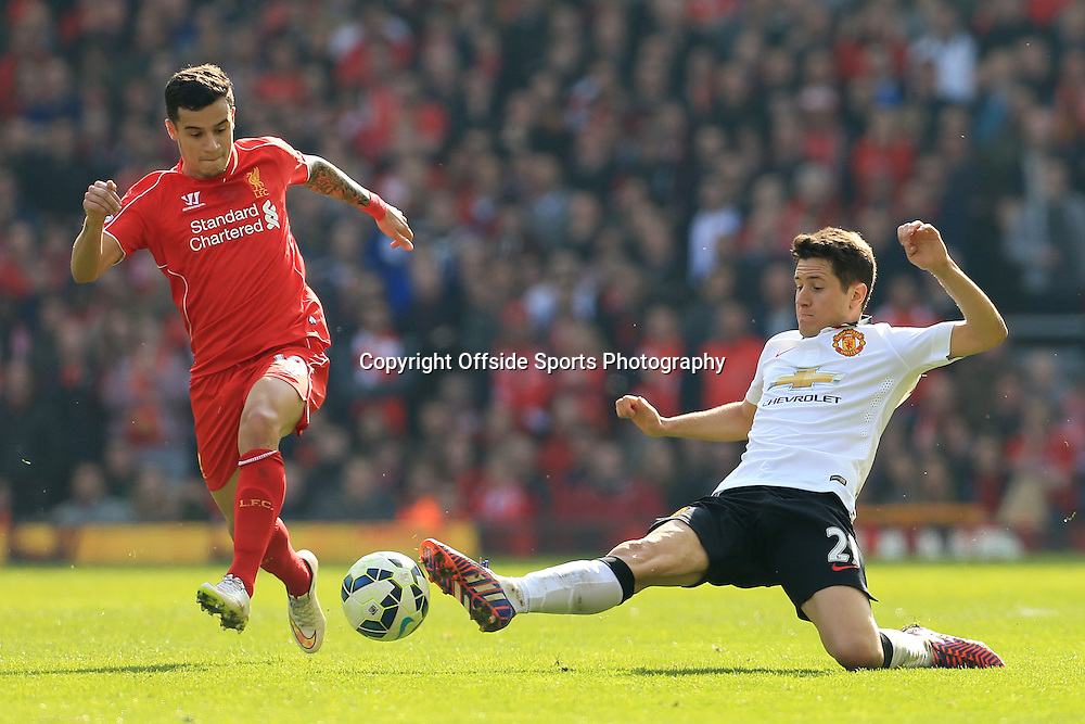 22nd March 2015 - Barclays Premier League - Liverpool v Manchester United - Ander Herrera of Man Utd battles with Philippe Coutinho of Liverpool - Photo: Simon Stacpoole / Offside.