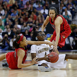 April 7, 2013; New Orleans, LA, USA; California Golden Bears guard Eliza Pierre (center) is defended by Louisville Cardinals guard Antonita Slaughter (left) and guard Shoni Schimmel (right) during the first half in the semifinals during the 2013 NCAA womens Final Four at the New Orleans Arena. Mandatory Credit: Derick E. Hingle-USA TODAY Sports