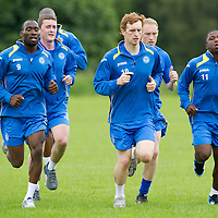 St Johnstone Signings....26.06.12<br /> Pictured during training from left, Gregory Tade, Thomas Scobbie Nigel Hasselbaink, Liam Craig, Steven Anderson and Nigel Hasselbaink.<br /> Picture by Graeme Hart.<br /> Copyright Perthshire Picture Agency<br /> Tel: 01738 623350  Mobile: 07990 594431