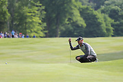 Chris Wood eyes up a putt on the 17th hole during the BMW PGA Championship at Wentworth Club, Virginia Water, United Kingdom on 29 May 2016. Photo by Phil Duncan.