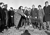 Minister for Defence Michael J Noonan and Minister for State Maire Geoghegan-Quinn, pictured as they turned the sod for the new Dept of Defence de-centralised office in Renmore, Galway watched by Minister for State Dept of Finance Noel Treacy and Frank Fahey Minister for Sport, 08/02/1988 (Part of the Independent Newspapers Ireland/NLI Collection).