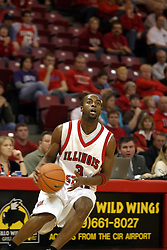 08 January 06  Nedu Onyeuku.....The Illinois State Redbirds come up short against the Witchita State Shockers.  The Shockers put on a 2nd half show that left the Redbirds trailing 56 - 47 at the bell.  Dana Ford of the Redbirds matched his career high with 16 points, adding 7 boards and 4 steals.....Redbird Arena, Illinois State University  campus, Normal, Illinois