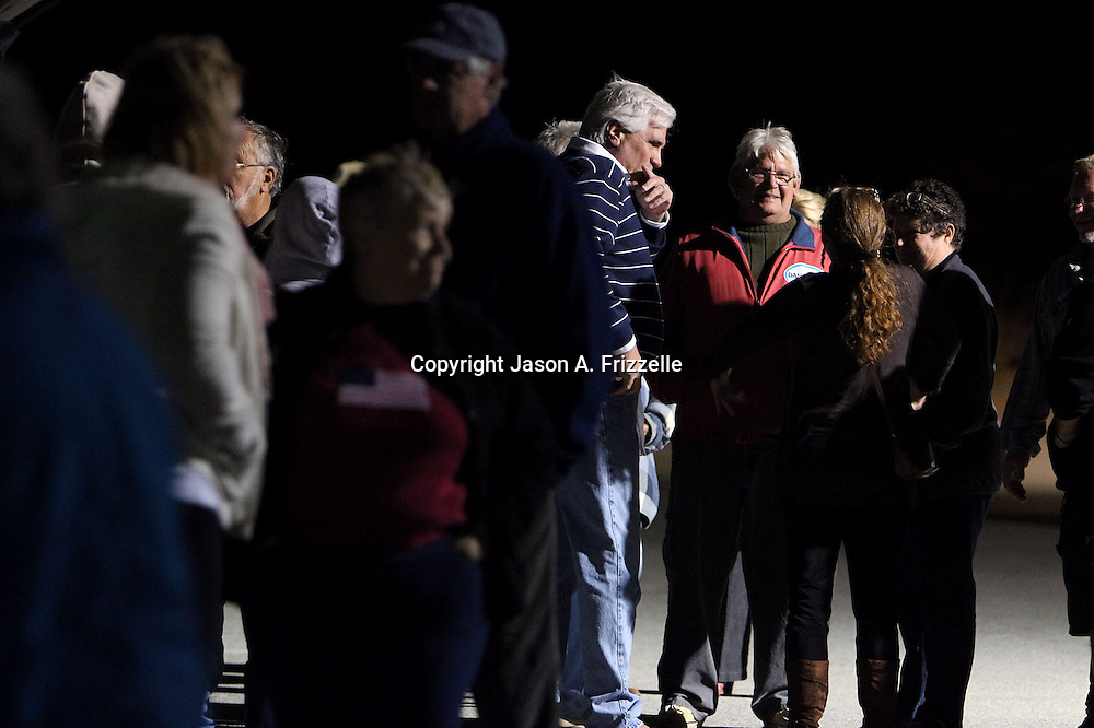 Voters wait outside the Carolina Beach Recreation Center. (Jason A. Frizzelle)