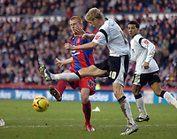 Photo: Kevin Poolman.<br />Derby County v Crystal Palace. Coca Cola Championship. 16/12/2006. Ben Watson of Palace has a shot blocked by Jon Stead of Derby.