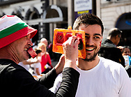 A Wales fan having facepaint applied<br /> <br /> Photographer Simon King/Replay Images<br /> <br /> Friendly - Wales v England - Saturday 17th August 2019 - Principality Stadium - Cardiff<br /> <br /> World Copyright © Replay Images . All rights reserved. info@replayimages.co.uk - http://replayimages.co.uk