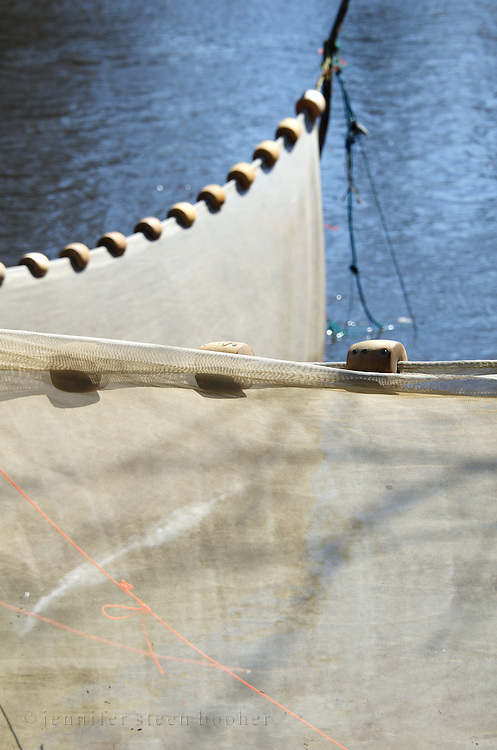 detail of an elver net on the Union River, Maine