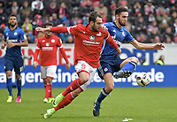 v.l. Levin Oeztunali (Mainz), Nabil Bentaleb<br /> Mainz, 19.03.2017, Fussball, Bundesliga, 1. FSV Mainz 05 - FC Schalke 04 0:1<br /> <br /> Norway only