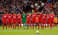 Photo. Jed Wee.<br /> Liverpool v Tottenham Hotspurs, Barclays Premiership, 16/04/2005.<br /> Liverpool players observe a minute's silence for the victims of the Hillsborough tragedy.