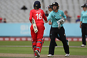 Lancashire Thunders Kate Cross shaking hands after Sarah Taylor (Wicket Keeper) of the Surrey Stars win during the Women's Cricket Super League match between Lancashire Thunder and Surrey Stars at the Emirates, Old Trafford, Manchester, United Kingdom on 7 August 2018.