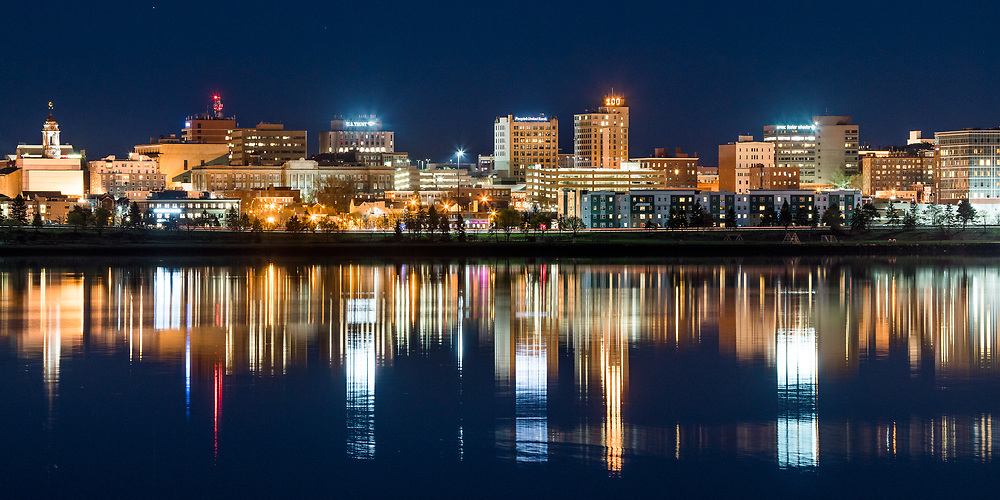 I captured this view of the Portland, Maine city skyline reflected in Back Cove from Baxter Boulevard late in the twilight.