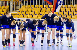 Players of Slovenia during handball match between Women National teams of Slovenia and Serbia in 2nd Round of Qualifications for 2014 EHF European Championship on October 27, 2013 in Hala Tivoli, Ljubljana, Slovenia. Slovenia defeated Serbia 31-26. (Photo by Vid Ponikvar / Sportida)