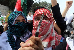 18.10.2015, Rafah, PSE, Gewalt zwischen Palästinensern und Israelis, im Bild Zusammenstösse zwischen Palästinensischen Demonstranten und Israelischen Sicherheitskräfte // Palestinian school girls take part in an anti-Israel protest in Khan Younis in the southern in Gaza strip, on Oct. 18, 2015. Israel pressed ahead with major security measures after five more stabbing incidents, while ultra-Orthodox Jews illegally visiting a West Bank holy site set ablaze last week were assaulted by Palestinians, Palestine on 2015/10/18. EXPA Pictures © 2015, PhotoCredit: EXPA/ APAimages/ Abed Rahim Khatib<br /> <br /> *****ATTENTION - for AUT, GER, SUI, ITA, POL, CRO, SRB only*****