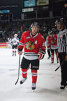 KELOWNA, CANADA - APRIL 25: Brendan Leipsic #28 of the Portland Winterhawks skates to the bench to celebrate a goal against the Kelowna Rockets on April 25, 2014 during Game 5 of the third round of WHL Playoffs at Prospera Place in Kelowna, British Columbia, Canada. The Portland Winterhawks won 7 - 3 and took the Western Conference Championship for the fourth year in a row earning them a place in the WHL final.  (Photo by Marissa Baecker/Getty Images)  *** Local Caption *** Brendan Leipsic;