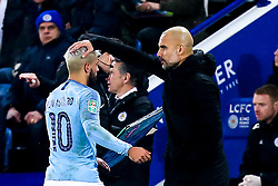 Manchester City manager Pep Guardiola pats Sergio Aguero of Manchester City on the head - Mandatory by-line: Robbie Stephenson/JMP - 18/12/2018 - FOOTBALL - King Power Stadium - Leicester, England - Leicester City v Manchester City - Carabao Cup Quarter Finals