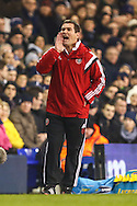 Nigel Clough, Manager of Sheffield United, shouts instructions during the Capital One Cup Semi-Final 1st Leg match between Tottenham Hotspur and Sheffield Utd at White Hart Lane, London, England on 21 January 2015. Photo by David Horn.