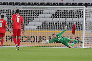 Another fine save from goalkeeper Scott Flinders during the Capital One Cup match between Swansea City and York City at the Liberty Stadium, Swansea, Wales on 25 August 2015. Photo by Simon Davies.
