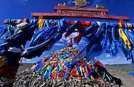 Mongolia. Ulaanbaatar. shamanist  budhist ovo (oboo) on the road to  Ulanbaatar / Ovo,ou oboo lieu de prière chamaniste et boudhiste  sur la route de  oulan bator