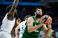 Real Madrid's player Othello Hunter and Panathinaikos's player Ioannis Bourousis during match of Turkish Airlines Euroleague at Barclaycard Center in Madrid. November 16, Spain. 2016. (ALTERPHOTOS/BorjaB.Hojas)