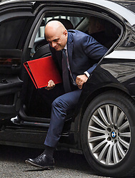 © Licensed to London News Pictures. 03/10/2019. London, UK. Chancellor SAJID JAVID is seen returning to downing street in Westminster, London. British Prime Minister Boris Johnson has sent a new Brexit proposal to the EU ahead of an EU summit later this month. Photo credit: Ben Cawthra/LNP