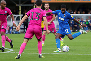 AFC Wimbledon attacker Michael Folivi (17) taking a shot on goal during the EFL Sky Bet League 1 match between AFC Wimbledon and Rochdale at the Cherry Red Records Stadium, Kingston, England on 5 October 2019.