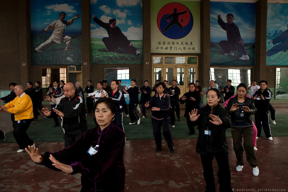 """Grandmaster Chen Xiaowang teaching Chinese Taijiquan teachers during a seminar at the Chenjiagou Taijiquan School. Grandmaster Chen Xiaowang is a world famous Chinese Taijiquan teacher, who was born and rased in Chenjiagou. Since 1990 he left China and started promoting Taijiquan around the world. He is recognized as one of four """"Buddha's Warrior Attendants,"""" the four outstanding exponents of the 19th generation in Chenjiagou village."""