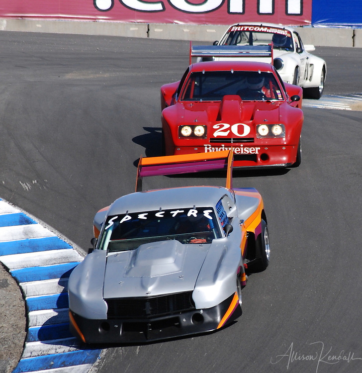 Vintage Porsche class, in the corkscrew at Laguna Seca, Monterey