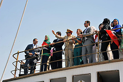 06.08.2015, Sueskanal, EGY, Sueskanal Kanal Erweiterung, im Bild Feierlichkieiten zur Sueskanal Erweiterung // Egyptian President Abdel-Fattah el-Sissi waves from a monarchy-era yacht that sailed to the venue of a ceremony unveiling a major extension of the Suez Canal in Ismailia, August 6, 2015. El-Sissi has billed the extension as an historic achievement needed to boost the country s ailing economy after years of unrest, Egypt on 2015/08/06. EXPA Pictures © 2015, PhotoCredit: EXPA/ APAimages/ Egyptian President Office<br /> <br /> *****ATTENTION - for AUT, GER, SUI, ITA, POL, CRO, SRB only*****