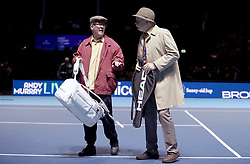 (from left) 'Winston' and 'Jack' from the television show Still Game on court during the doubles match at the Andy Murray Live Event at the SSE Hydro, Glasgow.