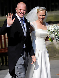 Wedding of Zara Phillips and Mike Tindall at Canongate Kirk Church, Edinburgh, Saturday July 30th 2011. Photo by : Andrew Parsons / i-Images<br /> File photo - Zara Phillips has given birth to a baby girl<br /> Zara Phillips has given birth to a baby girl at Gloucestershire Royal Hospital.<br /> Her husband and former England rugby player Mike Tindall was present at the birth.<br /> The weight of the baby was 7lbs 12oz, Buckingham Palace announced today.<br /> <br /> Picture filed Friday, 17th January 2014