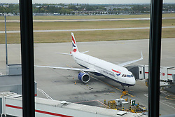 © Licensed to London News Pictures. 09/09/2019. London, UK. A British Airways aircraft at a gate at Heathrow Terminal 5 on the first day of the two days first-ever strike staged by British Airways pilots dispute over pay. British Airways had requested its passengers that they were unlikely to travel and to make alternative arrangements prior to the strike action. Photo credit: Dinendra Haria/LNP