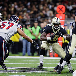 Aug 26, 2017; New Orleans, LA, USA; New Orleans Saints running back Adrian Peterson (28) is pursued by Houston Texans linebacker Brennan Scarlett (57) during the first quarter of a preseason game at the Mercedes-Benz Superdome. Mandatory Credit: Derick E. Hingle-USA TODAY Sports