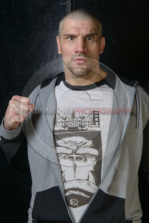 "LONDON, ENGLAND, APRIL 18, 2016: James Thompson poses for a portrait following the event announcement press conference for ""Bellator 158: Slice vs. Thompson"" inside the Four Seasons Hotel in Park Lane, London (© Martin McNeil)"