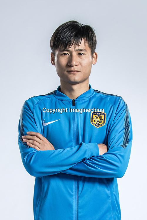 **EXCLUSIVE**Portrait of Chinese soccer player Zhou Yun of Jiangsu Suning F.C. for the 2018 Chinese Football Association Super League, in Nanjing city, east China's Jiangsu province, 23 February 2018.