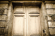 Door at Chapelle des Augustines, Bayeux, Normandy, France
