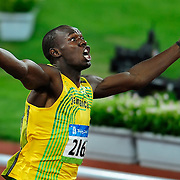 Usain Bolt of Jamaica celebrated after his world record time of 19.30 in the men's 200m final on August 20, 2008 at National Stadium during the 2008 Summer Olympic Games in Beijing, China. (Photo by David Eulitt/The Kansas City Star/MCT)