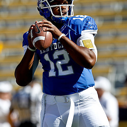 October 1, 2011; Baton Rouge, LA, USA;  Kentucky Wildcats quarterback Morgan Newton (12) prior to kickoff of a game against the Kentucky Wildcats at Tiger Stadium.  Mandatory Credit: Derick E. Hingle-US PRESSWIRE / © Derick E. Hingle 2011