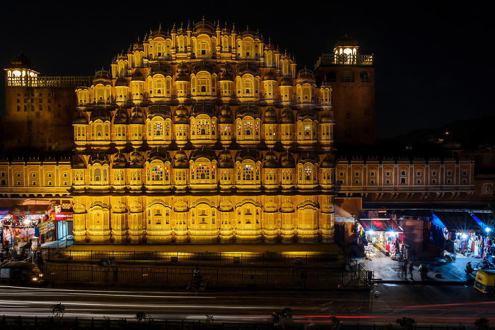 JAIPUR, INDIA - CIRCA NOVEMBER 2016: Hawa Mahal also known as the Palace of the Winds Jaipur, the Pink City at night. The Palace is a very popular torist attraction.