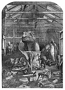 The 'Extinct Animals' model room at Crystal Palace, Sydenham, showing models of dinosaurs being prepared for display. Benjamin Waterhouse Hawkins (1807-1889) prepared the display.  From 'The Illustrated London News' (London, 31 December 1853). Wood engraving.