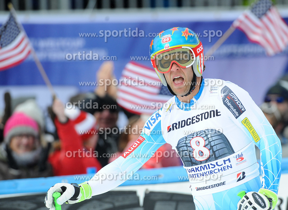 28.02.2015, Kandahar, Garmisch Partenkirchen, GER, FIS Weltcup Ski Alpin, Garmisch Partenkirchen, Abfahrt, Herren, im Bild Steven Nyman of the USA // reacts after his run for the men's Downhill of the FIS Ski Alpine World Cup at the Kandahar in Garmisch Partenkirchen, Germany on 2015/02/28. EXPA Pictures © 2015, PhotoCredit: EXPA/ Erich Spiess