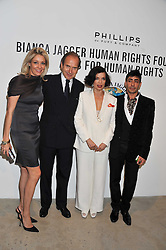 Left to right, NADJA SWAROVSKI, SIMON DE PURY, BIANCA JAGGER and RAQIB SHAW at Arts for Human Rights gala dinner in aid of The Bianca Jagger Human Rights Foundation in association with Swarovski held at Phillips de Pury & Company, Howick Place, London on 13th October 2011.