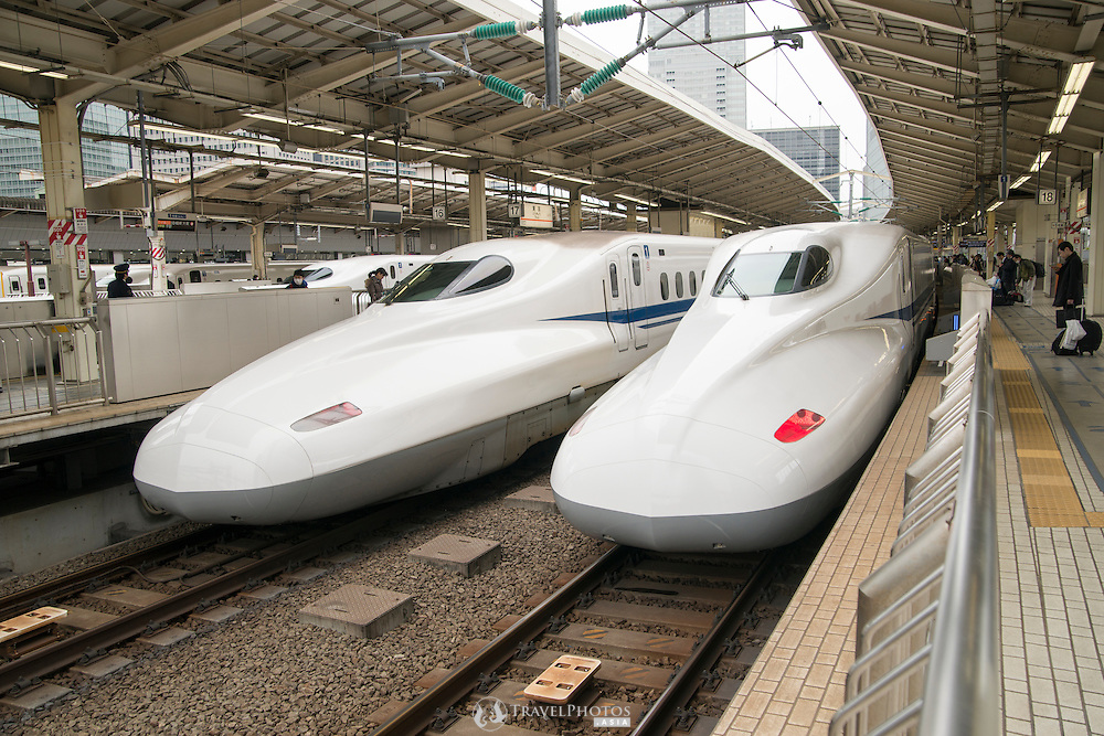 "The Japanese bullet train, ""shinkansen"", of the Central Japan Railway company in Tokyo."