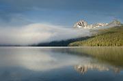 Mount Heyburn on a foggy morning at Redfish Lake, Sawtooth National Recreation Area Idaho