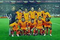 Fotball<br /> EM-kvalifisering<br /> 10.09.2003<br /> Tsjekkia v Nederland<br /> NORWAY ONLY<br /> Foto: Digitalsport<br /> <br /> achter: van der sar, van bommel, frank de boer, stam, van nistelrooij en kluivert. voor: reiziger, overmars, van der vaart, cocu en davids.
