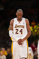25 December 2011: Guard Kobe Bryant of the Los Angeles Lakers holds his injured wrist against the Chicago Bulls during the second half of the Bulls 88-87 victory over the Lakers at the STAPLES Center in Los Angeles, CA.