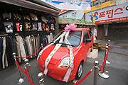 Namdaemun Market. Cheap textiles and car lottery.