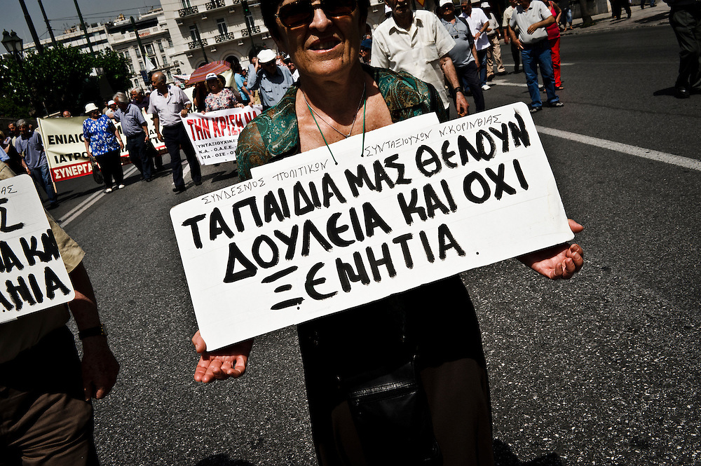 GREECE ATHENS JUNE 09 2011 Pensioners demonstrate against austerity cuts and state property sell off during a general strike organised by the unions of GSEE, ADEDY.